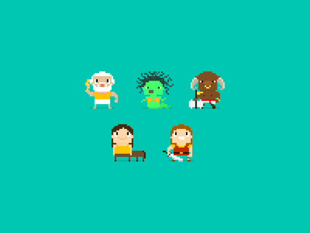 cartoon warrior: Set of different pixel art characters, greek mythology characters, gods and beasts