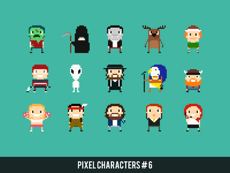 Set of different pixel art characters Illustration