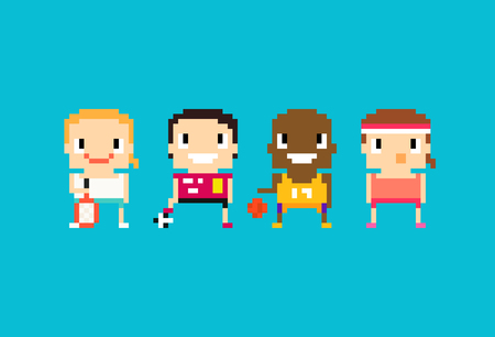 pixel art: Pixel art sport characters for tennis, soccer, football, basketball and fitness