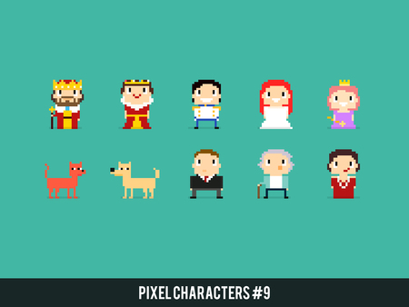 Set of different pixel art characters with king, queen, prince and princesses