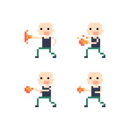 bald head: Pixel art guy with bald head throwing fire