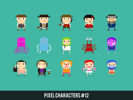 pretender: Pixel art characters, wild west, aliens and circus people