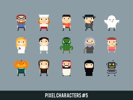mage: Different pixel art characters: cook, waiter, ghost, bride and groom, orc, old mage, arabian guy, robot