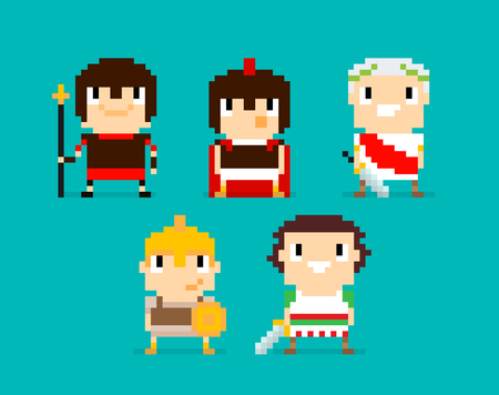 cartoon warrior: Pixel art characters, group of Roman and Greek warriors