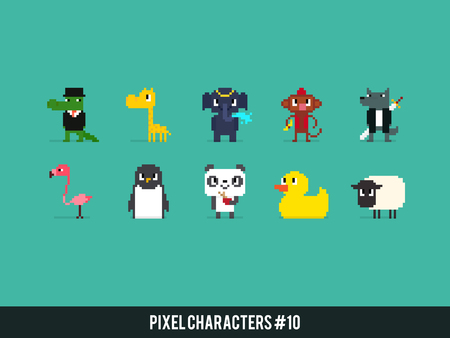 cartoon crocodile: Set of different pixel art animals