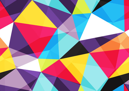 vivid colors: Bright background with different colored triangles with transparent layer Illustration
