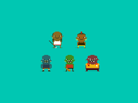 grunt: Set of different pixel art characters, orcs and trolls, fantasy warriors