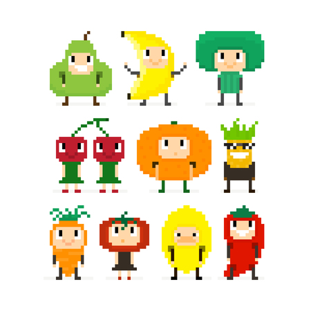 8 bit: Pixel art characters, people in fruit and vegetable costumes Illustration