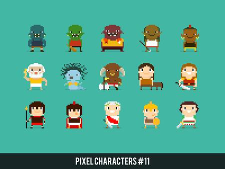 cascos romanos: personajes del arte del pixel, orcos, personajes de la mitología griega y romana guerreros Vectores