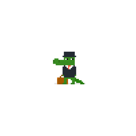 Pixel art character, crocodile in business suit and black hat, with bag, isolated on white background