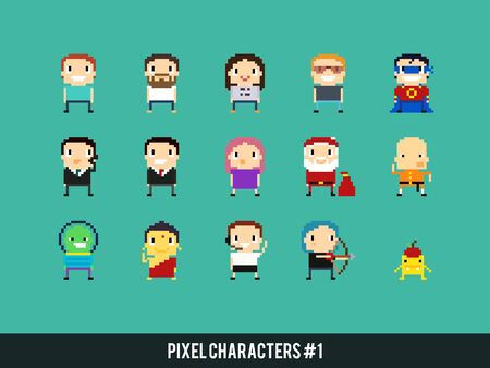 archer cartoon: Set of different pixel art characters Illustration