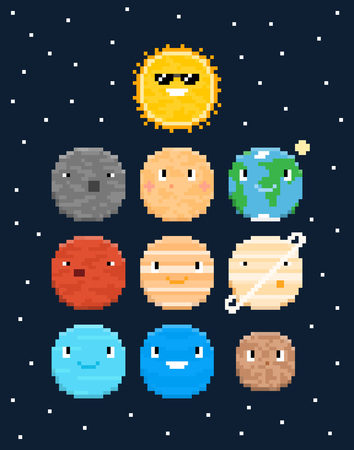 Pixel art characters, solar system planets with stars isolated on dark blue background Иллюстрация