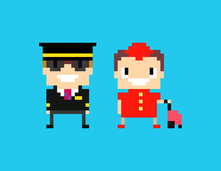 cabin: Pixel art cabin crew, captain pilot and stewardess isolated on blue background