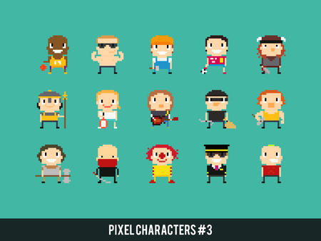 male tennis players: Set of different pixel art characters Illustration