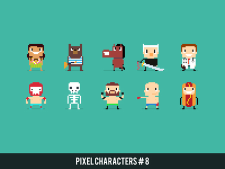 md: Set of pixel art characters with different gender, skin color and species