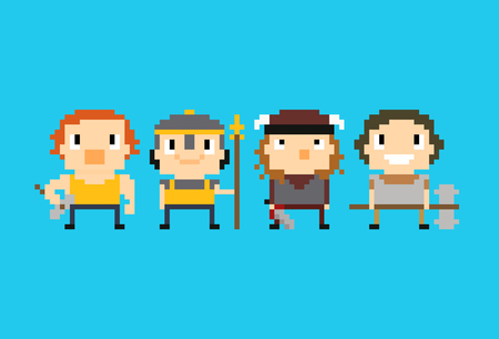 spearman: Four warriors, pixel art characters with different weapons