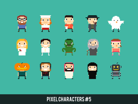 nerd girl: Different pixel art characters: cook, waiter, ghost, bride and groom, orc, old mage, arabian guy, robot