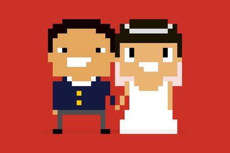 8 bit: Pixel art characters, wedding couple holding hands and smiling, asian couple on red background