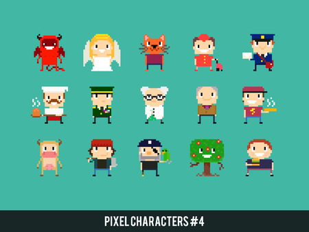heaven and hell: Set of different pixel art characters Illustration