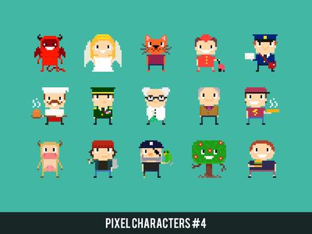 heaven: Set of different pixel art characters Illustration