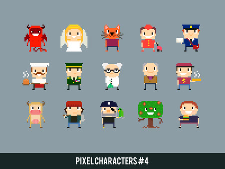 devil cartoon: Set of different pixel art characters Illustration