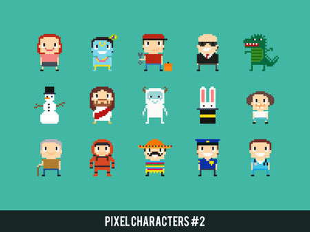 bodyguard: Set of different pixel characters. Medic, police man, astronaut, bodyguard, mexican guy, yeti, dinosaur monster and other