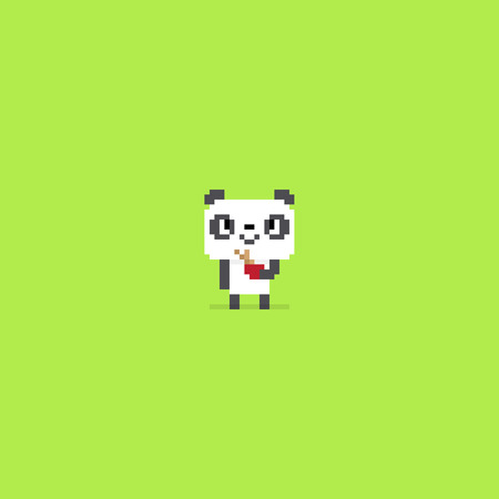 Pixel art panda smiling and holding a bowl with bamboo sticks in it, isolated on green background Çizim