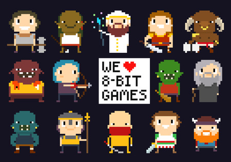 Pixel art characters, 8-bit game characters, warriors, monsters, mage, sorcerer, humans and orcs, we love 8-bit games sign