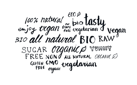 Set of different hand written healthy food words, vegan, vegetarian, natural, organic, raw, bio