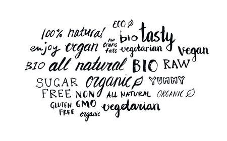 Set of different hand written healthy food words, vegan, vegetarian, natural, organic, raw, bio Illustration