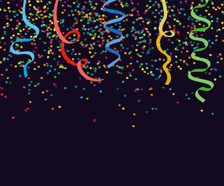 celebration eve: Abstract background with falling confetti and ribbons