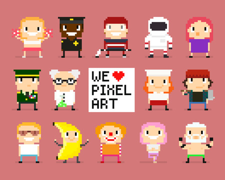 bit: Different pixel art characters, 8 bit people, we love pixel art sign with pixel heart