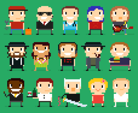 jewish community: Different pixel art characters, 8 bit people with different gender, occupation and skin tone