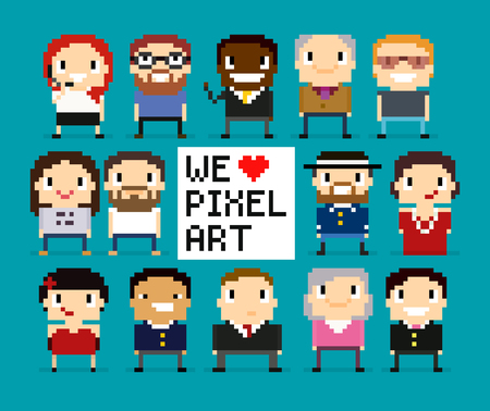8 bit: Different pixel art characters, 8 bit people, pixel office workers, we love pixel art sign with pixel heart
