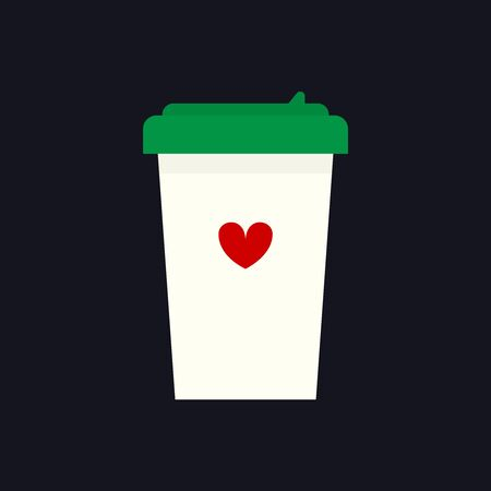 refreshments: Flat icon of takeaway coffee cup with a red heart on it