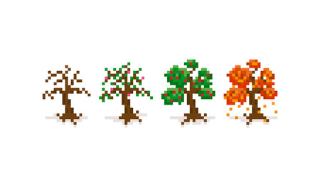four: Pixel art trees for four seasons: winter, spring, summer and autumn. 8-bit retro background