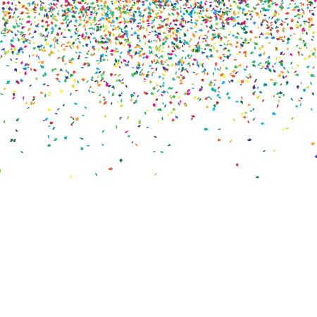 Abstract background with falling confetti, different colored curved confetti pieces
