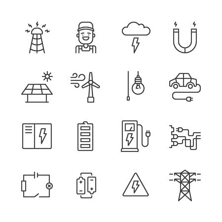 electricidad industrial: Conjunto de iconos de energía y electricidad esquema simples