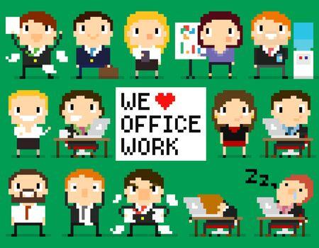 Personajes De Pixel Art Que Trabajan En Sus Computadoras Portátiles ...