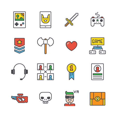 Set of simple outline gamer icons with different gaming accessories and symbols