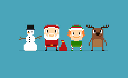 Pixel art Christmas characters: Santa, Snowman, Elf and Christmas deer