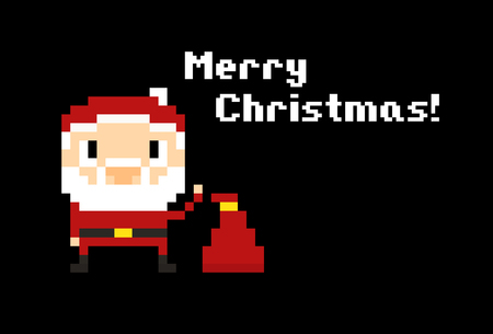 eight year old: Pixel art Santa with his bag on black.