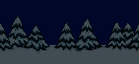 bright christmas tree: Pixel art seamless  background with many spruce christmas trees in snow at night