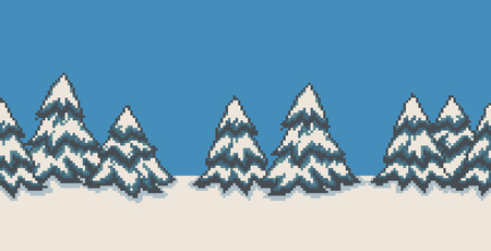 Pixel art seamless background with many spruce christmas trees in snow Stock Illustratie