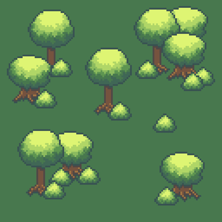 bit: Pixel art background with trees and bushes