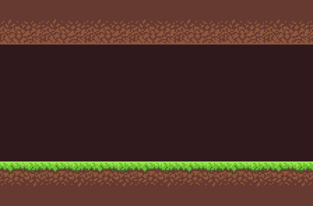 Pixel art game underground background tunnel with dirt and grass