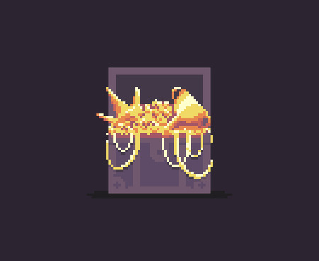 Pixel art chest with golden treasures: chains, crown, cup and coins