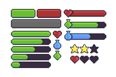Pixel art game interface elements for hitpoints, mana, energy, stamina. Loading bar, stars and buttons Illustration