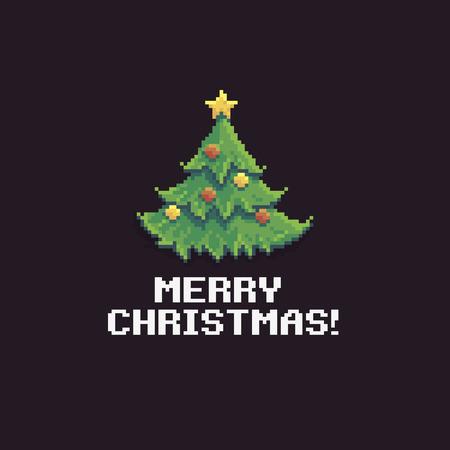 Pixel Art Décoré De Sapin De Noël Avec Une étoile Dorée Sur Le Dessus Isolé Sur Un Fond Sombre Avec Le Texte De Joyeux Noël