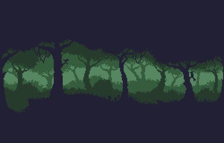 픽셀 아트 8 비트 짙은 녹색 숲 배경